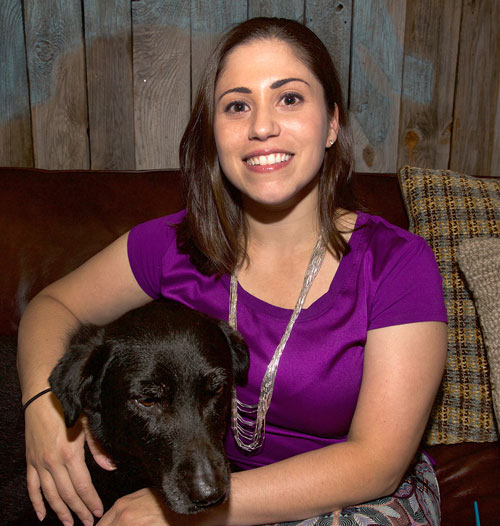 Ross Vet alum Victoria Carmella, DVM with dog